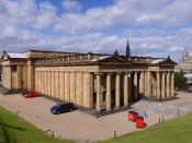 The Mound in Edinburgh with the National Gallery of Scotland and the Royal Scottish Academy Building seen from the south. Own photos, stitched with hugin and enblend. Updated and restitched version of Image:National Gallery of Scotland 2005-08-07.jpg.