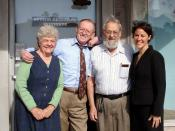Dr. Bernard Rimland (second from right) in front of the Autism Research Institute (ARI)