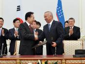 Joint Press-Conference of President Islam Karimov and President Lee