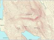 This is a contour map labeled according to accepted cartographic conventions. Labels are placed in a sligthly curved line stepping up to the summit from several directions.