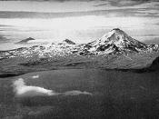 Aerial photograph of Kanaga Island, Aleutian Islands, Alaska