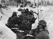 English: A Red Army Party Convention on the trenches during the Winter War Suomi: Puoluekokous juoksuhaudassa