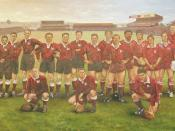 A painting of the 17 players in the Queensland Rugby League's Team of the Century. The painting is by Dave Thomas. Back row: Duncan Thompson, Jimmy Craig, Cec Aynsley, Herb Steinohrt, Mick Madsen, Duncan Hall, Denis Flannery, Noel Kelly, Arthur Beetson, W