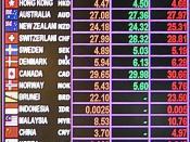 Exchange rates display, seen at Suvarnabhumi International Airport, Thailand