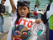 Some people do not see international trade favourably: here a child protests against the WTO in Jakarta.