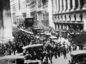 English: Crowd gathering on Wall Street after the stock market crash of October 1929.