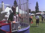 The Culver City Mayor climbing out of the Dunk Tank