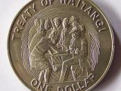 Reverse of a 1990 one dollar coin commemorating the sesquicentenary of the Treaty of Waitangi.