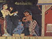 Bhagavata Purana Manuscript, Scene: Yashoda bathing the child Krishna