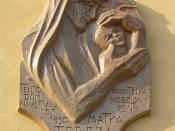 Memorial plaque dedicated to Mother Teresa by Otilie Šuterová-Demelová at building in Václavské náměstí square in Olomouc (Czech Republic).