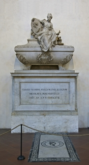 English: Niccolò Machiavelli tomb in the Santa Croce basilica in Florence, Italy. Français : La tombe de Nicolas Machiavel dans la Basilique Santa Croce de Florence, Italie.