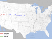 Route of the first American transcontinental railroad from Sacramento, California, to Council Bluffs, Iowa.