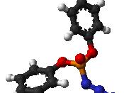 Ball-and-stick model of the diphenylphosphoryl azide (DPPA) molecule.