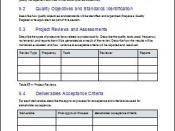 Quality Management, Project Plan Templates