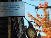 QUIXOTE FOUNDATION wants to see FREE PEOPLE in FAIR SOCIETIES on a HEALTHY PLANET, Idealism, Practice, signs, Ballard, Seattle, Washington, USA
