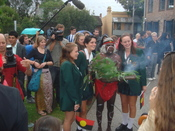 An aboriginal Smoking Ceremony being performed at the Redfern Community Centre before the live telecast of the formal Apology to the Stolen Generations