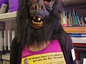 A photo of someone dressed as a Guerrilla Girl.