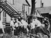 A white gang looking for African Americans during the Chicago Race Riot of 1919