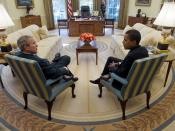 English: President George W. Bush and President-elect Barack Obama meet in the Oval Office of the White House Monday, November 10, 2008.