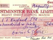 A cheque drawn on the Regent Street (Clifton) Branch of Westminster Bank, dated 14 August 1956.