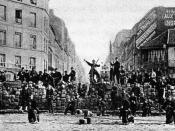 A barricade in the Paris Commune, March 18, 1871.