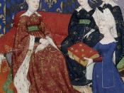 Christine de Pizan presents her book to Queen Isabeau of Bavaria.
