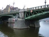 The Čechův most as seen from the Vltava River, Prague, Czech Republic.