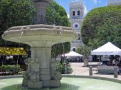 Central plaza in Guayama, Puerto Rico