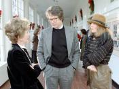 First Lady Nancy Reagan talking with Warren Beatty and Diane Keaton at a movie screening for