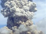 English: Soufriere Hills volcano erupting in 1995. Soufriere Hills volcano in Montserrat.