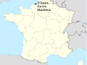 English: Location of Dieppe scene of the Dieppe Raid. Illustrating the location of the Dieppe Raid in the article Dieppe Raid.