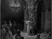 Bradamante learns of the future descendants of herself and Ruggiero, from the sorceress Melissa: Gustave Doré's illustration to Orlando Furioso.