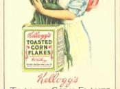English: blotter with advertising for Kellogg's Toasted Corn Flakes. Featuring 'The Sweetheart of the Corn'. Light violet blotter paper verso, unused. Size 3 1/4