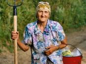 English: An old farmer woman, Eastern Europe.