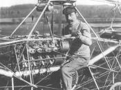 English: Cornu helicopter. Paul Cornu in his first helicopter in 1907. Note that he is sitting between the two rotors, which rotated in opposite directions to cancel torque. This helicopter was the first flying machine to have risen from the ground using