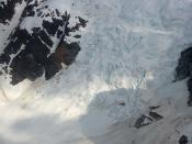 Helicopter over a glacier