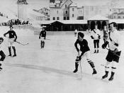 Oxford University vs. Switzerland hockey game. Lester Bowles Pearson is at right front