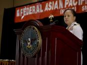 English: WASHINGTON (May 6, 2010) Rear. Adm. Eleanor Valentin, commander of Navy Medicine Support Command, delivers the keynote address at the Federal Asian Pacific American Council 25th annual National Leadership Course Military Awards Luncheon. The Fede