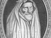 John Donne in his shroud. He posed for this painting/engraving in his later years and then kept the print by his bedside for the rest of his life, contemplating on the transience of life.