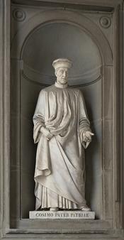 Français : Côme de Médicis (Côme l'Ancien), statue Piazzale des Offices à Florence (Italie)