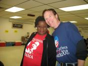 WI: Congresswoman Gwen Moore stops by the phone bank at the Milwaukee Area Labor Council November 3, 2008