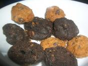 Close up of assorted Famous Amos cookies.