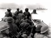 Infantrymen in a Landing Craft Assault (LCA) going ashore from H.M.C.S. PRINCE HENRY off the Normandy beachhead, France, 6 June 1944