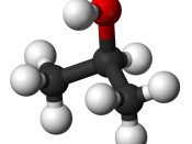 Ball and stick model of the isopropanol molecule.
