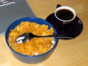 Cornflakes and pseudo-espresso (really just very strong coffee, made in a moka pot).