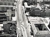 Luftbild der Straße der Nationen in der Zeit des intensivsten soz. Stadtumbaus von Karl-Marx-Stadt 1967