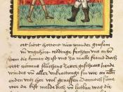 Page from the illuminated manuscript of Johannes von Tepl's Der Ackermann aus Böhmen (The peasant from Bohemia). Illustration from the 2nd chapter, showing Death and the peasant. University Library Heidelberg, Cod. Pal. germ. 76, fol. 3r