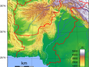 Topographic map of Pakistan