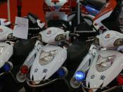 This company was showing off their line of police bikes, which in their own way are sort of comical. Cops just don't have the same presence when they roll up on a scooter.