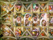 The left half of the entire ceiling, after restoration